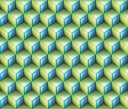 3d iluminam - o fundo sem emenda do teste padrão dos cubos geométricos verdes & azuis do sumário do contorno Fotografia de Stock Royalty Free