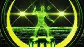 3D iluminam - o homem verde de Wireframe no fundo V2 do movimento do laço do Cyberspace VJ ilustração royalty free