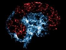3D ilustração - cérebro para o sistema do neurônio a baixo poli Foto de Stock Royalty Free