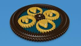 3D ilustração das engrenagens, engrenagem, mecanismo planetário da rotação rendição 3d ilustração do vetor