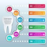 3D ilustração digital abstrata Infographic Ícone do dente Imagens de Stock