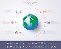 3D ilustração digital abstrata Infographic com mapa do mundo Fotografia de Stock Royalty Free