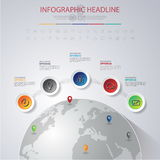 3D ilustração digital abstrata Infographic com mapa do mundo lata ilustração stock