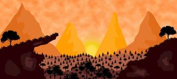 2D ilustração do por do sol ilustração stock