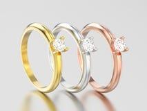 3D a ilustração três amarela, ouro cor-de-rosa e branco ou prata trad Imagens de Stock Royalty Free