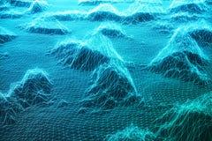 3D ilustraci krajobrazu tło Cyberprzestrzeni krajobrazowa siatka 3d technologia Abstrakcjonistyczny błękita krajobraz na czerni Obrazy Royalty Free