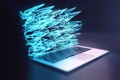 3D ilustraci laptop Laptopu laptop na ciemnym tle Z laptopu ekranu hologramem, łączy punkty z liniami ilustracji