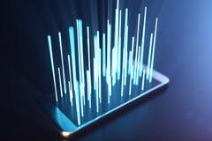 3D ilustraci laptop Laptopu laptop na ciemnym tle Z laptopu ekranu hologramem, łączy punkty z liniami royalty ilustracja