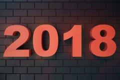 3D ilustraci teksta 3D 2018 liczby Szczęśliwy nowego roku 2018 tekst Zdjęcia Stock