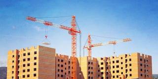 3d ilustracja żurawie buduje cegła dom ilustracji