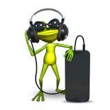 3D ilustracja żaba z hełmofonami z Smartphone Fotografia Royalty Free