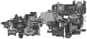 3d ilustracja abstrakcjonistyczna przemysłowego wyposażenia technologia Obraz Royalty Free