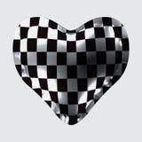 3d ilustracja balon w postaci serca z szachową teksturą, royalty ilustracja