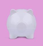 3d ilustracja biały niewidomy prosiątko bank na menchiach Fotografia Stock