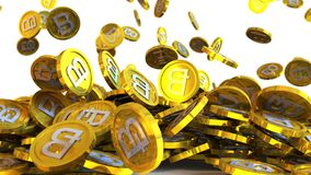 3D ilustracja bitcoin ukuwa nazwę spadać na białym tle Zdjęcia Royalty Free