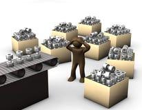 3D ilustracja, Brown figurka, przytłaczający pracownik na productio ilustracji