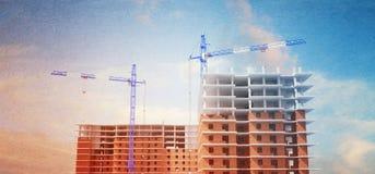 3D ilustracja budynki w budowie Basztowi żurawie Filtr ilustracja wektor