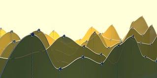 3D ilustracja ciemna kolor żółty krzywy mapa kreskowy wykres lub Zdjęcie Royalty Free