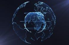 3d ilustracja cyfrowa planety ziemia w neonowym świetle royalty ilustracja
