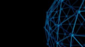 3d ilustracja cząsteczkowa siatka, atomy łączący w krystalicznej kratownicie, zakończenie w górę widoku, 3d odpłaca się zdjęcie wideo