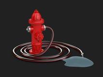 3d ilustracja Czerwony pożarniczy hydrant z Pożarniczym wężem elastycznym i wodą, odosobniony czerń Obrazy Stock