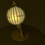 3d ilustracja, 3d rendering Rocznik latarniowa stołowa lampa, robić w postaci antycznej kuli ziemskiej Zdjęcie Stock