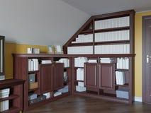 3d ilustracja domowa biblioteka na strychowej podłoga intymny dom ilustracji