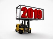 3D ilustracja forklift który podnosił zbiornika z nowego roku 2019 datą Pomysł dla kalendarza, odtransportowywa przyszłość royalty ilustracja