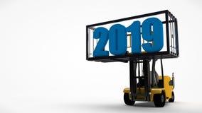 3D ilustracja forklift który podnosił zbiornika z nowego roku 2019 datą Pomysł dla kalendarza, odtransportowywa przyszłość ilustracja wektor