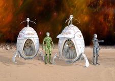 3D ilustracja Futurystyczni cyborgów androidy Ląduje na Odległej planecie Obrazy Stock