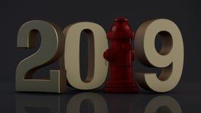 3D ilustracja 2019 hydrant zamiast jednostki pomysł świętowanie, rok ochrona, pożarniczy system 3d rendering odizolowywa ilustracji