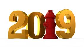 3D ilustracja 2019 hydrant zamiast jednostki pomysł świętowanie, rok ochrona, pożarniczy system 3d rendering odizolowywa royalty ilustracja