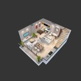 3d ilustracja isometric widok apartament na najwyższym piętrze Zdjęcia Stock