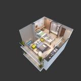 3d ilustracja isometric widok apartament na najwyższym piętrze Obrazy Royalty Free