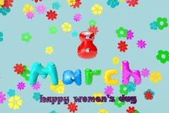 3D ilustracja kartka z pozdrowieniami z 8 Marzec na tle kolorowi kwiaty ilustracji