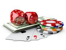 3d ilustracja kasyno Dices, sztuki karta, pieniądze i grzebaków układy scaleni, Odosobniony biel Obraz Royalty Free