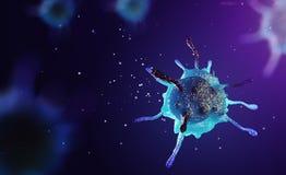 3d ilustracja komórka pod mikroskopem Obrazy Royalty Free