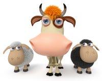 3d ilustracja krowa z caklami Obraz Royalty Free