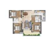 3d ilustracja mieszkanie podłogowy plan Fotografia Royalty Free