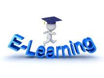 3D ilustracja nauczanie online znak z uczniem nad ono Zdjęcie Royalty Free