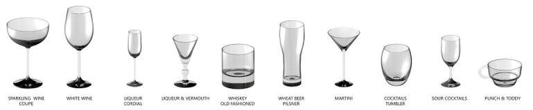 3D ilustracja ogromna kolekcja różni szkła dla koktajli/lów, wino i inny pije odosobnionego na bielu, wierzchołka widok royalty ilustracja