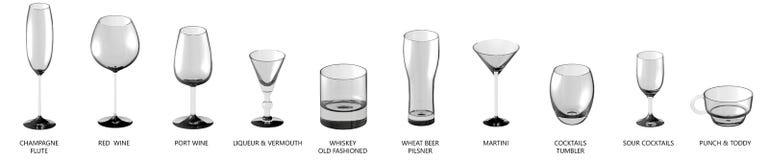 3D ilustracja ogromny set różnorodni szkła dla koktajli/lów, wino i inny pije odosobnionego na bielu, wierzchołka widok - pijący ilustracja wektor