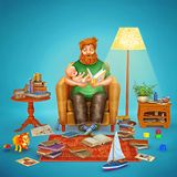 3D ilustracja ojciec i jego dziecko w żywym pokoju ilustracja wektor