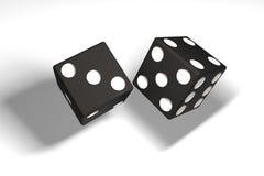 3d ilustracja: para czarni kostka do gry wieszał w powietrzu po rzucającego cień Biały tło ilustracja wektor