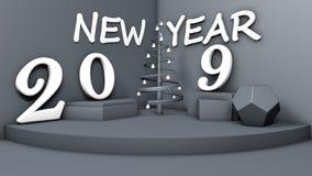3D ilustracja pokój z symbolem nowy rok, 2019 przedmiotów na postaciach i stylistycznej choinka w kącie, ilustracji
