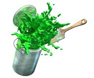 3d ilustracja psuje od farby zielona farba forsuje Obrazy Stock