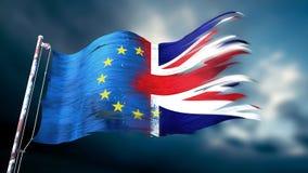 3d ilustracja rozdzierająca i drzejąca flaga europejski zjednoczenie Fotografia Royalty Free