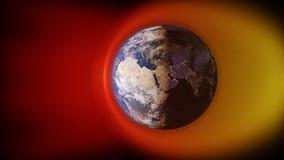 3d ilustracja słonecznego wiatru karambolowanie z ziemskim ` s polem magnetycznym Obraz Royalty Free