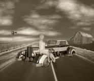 3D ilustracja 1930s Retro Americana scena w Sepiowym brzmieniu fotografia stock