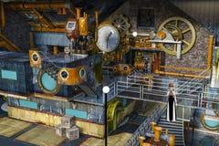 3D ilustracja steampunk kobieta w starej zaniechanej fabryce ilustracji